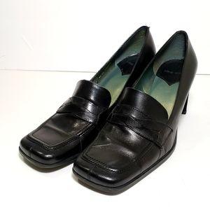 Nine West Black Leather Slipon Loafers Dress Shoe